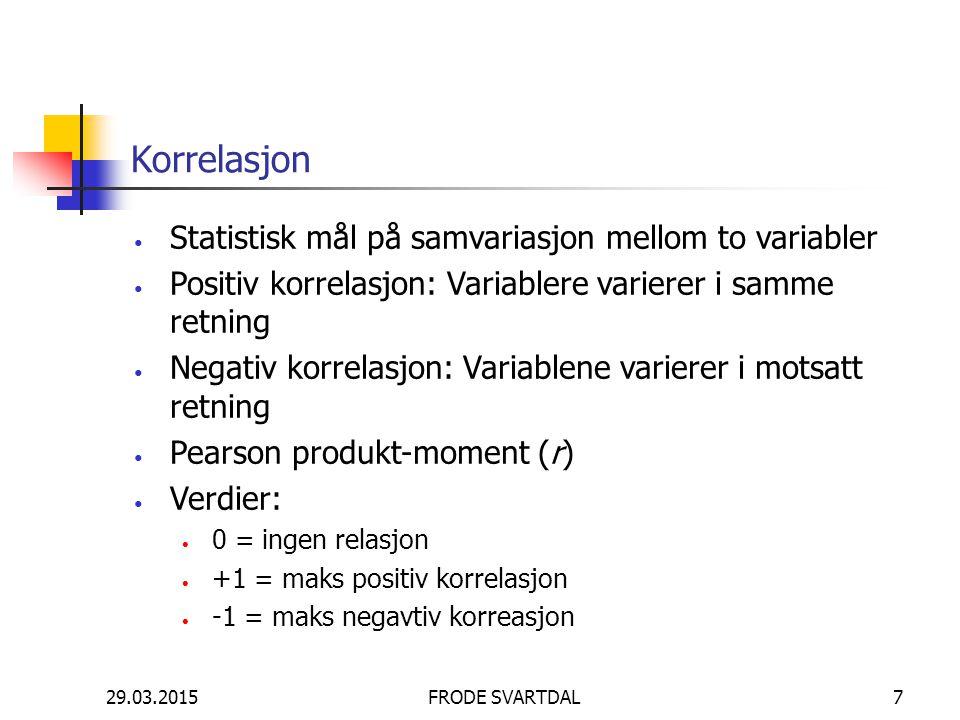 Korrelasjon Statistisk mål på samvariasjon mellom to variabler