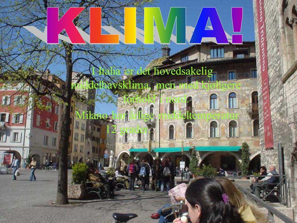 Milano har årlige middeltemperatur 12 grader.