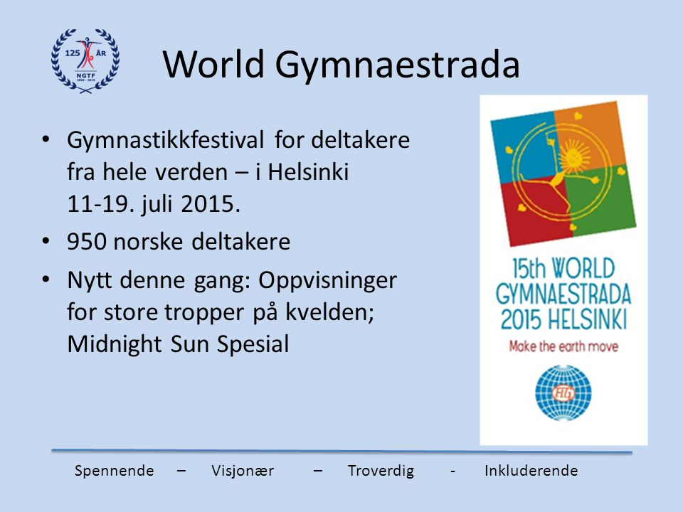 World Gymnaestrada Gymnastikkfestival for deltakere fra hele verden – i Helsinki 11-19. juli 2015.