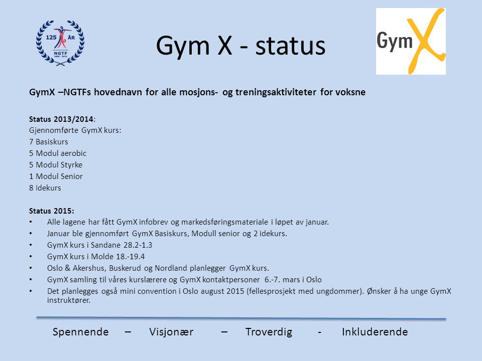 Gym X - status Spennende – Visjonær – Troverdig - Inkluderende