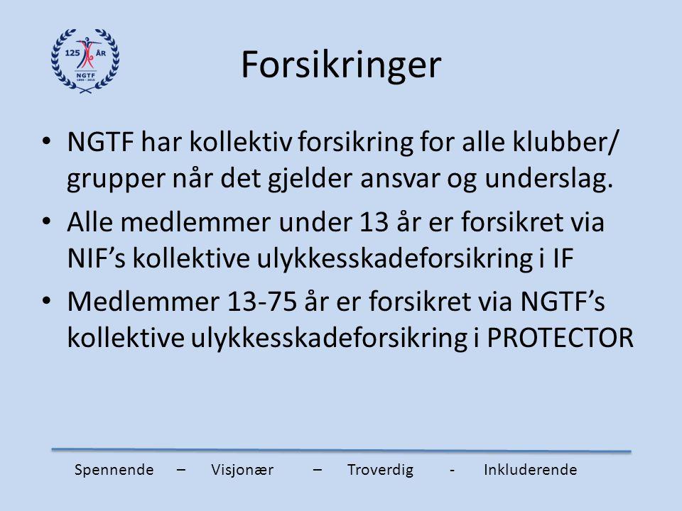 Forsikringer NGTF har kollektiv forsikring for alle klubber/ grupper når det gjelder ansvar og underslag.
