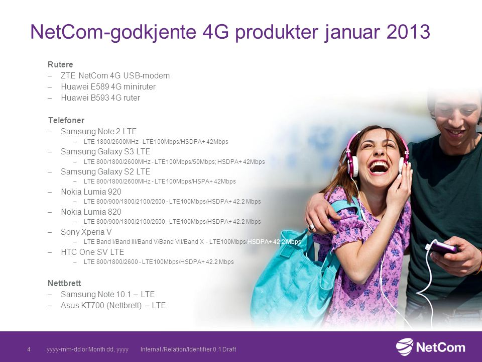 NetCom-godkjente 4G produkter januar 2013