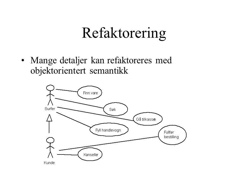 Refaktorering Mange detaljer kan refaktoreres med objektorientert semantikk