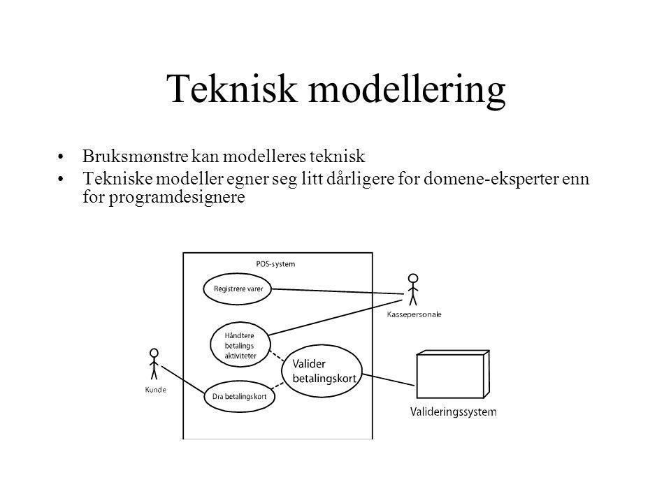 Teknisk modellering Bruksmønstre kan modelleres teknisk