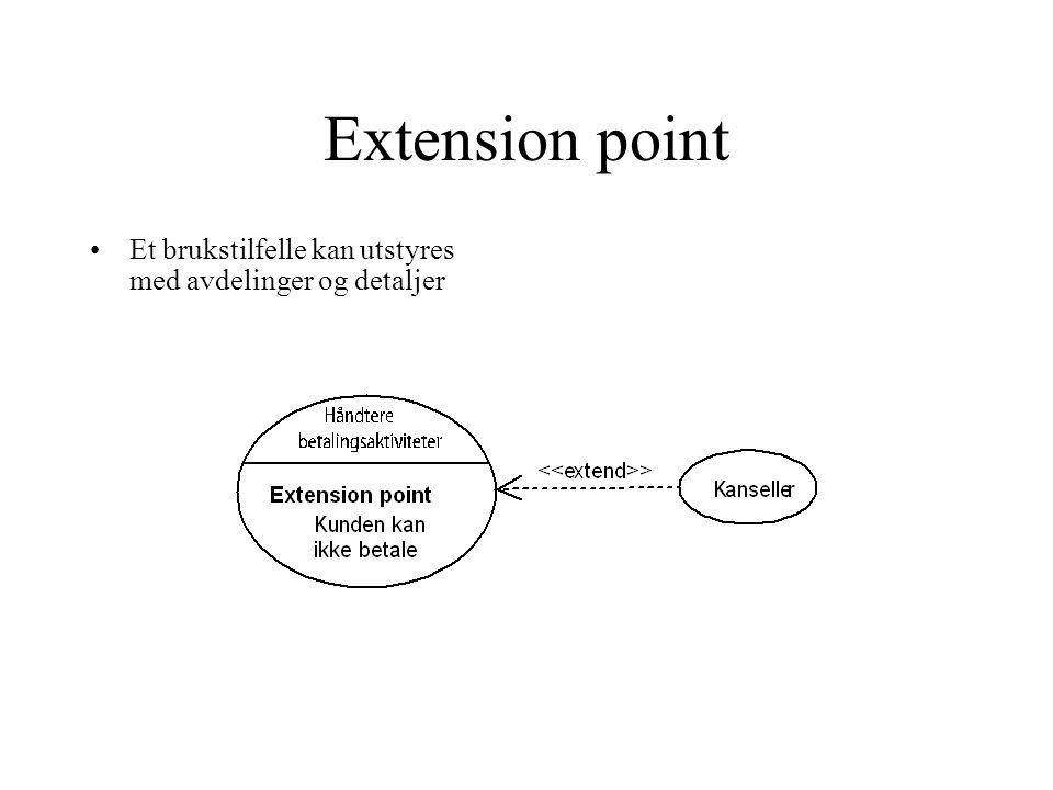 Extension point Et brukstilfelle kan utstyres med avdelinger og detaljer