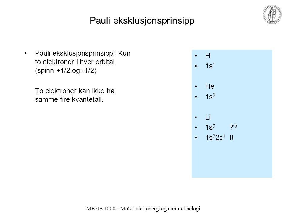 Pauli eksklusjonsprinsipp