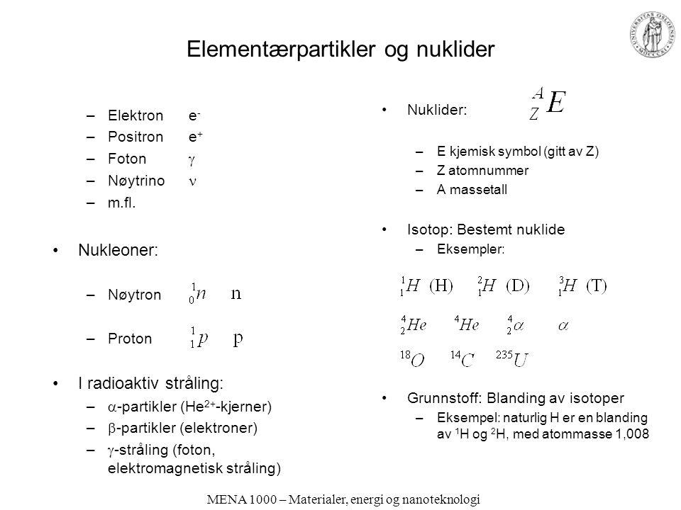 Elementærpartikler og nuklider