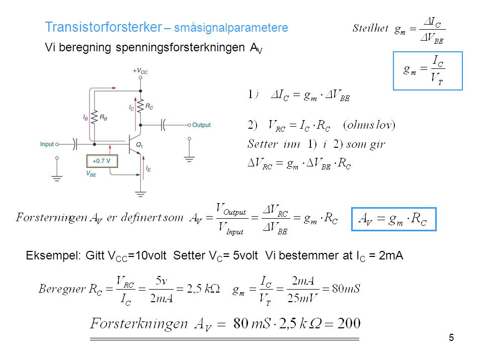 Transistorforsterker – småsignalparametere
