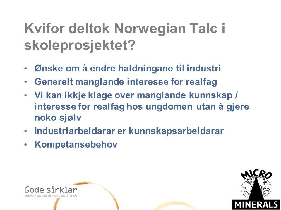 Kvifor deltok Norwegian Talc i skoleprosjektet