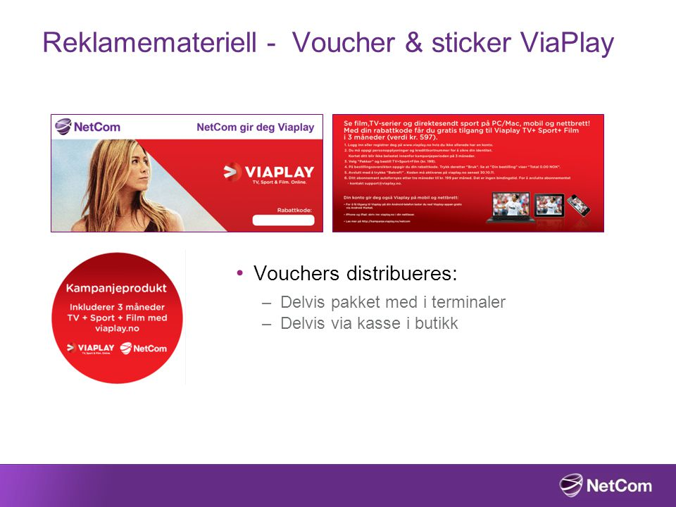 Reklamemateriell - Voucher & sticker ViaPlay