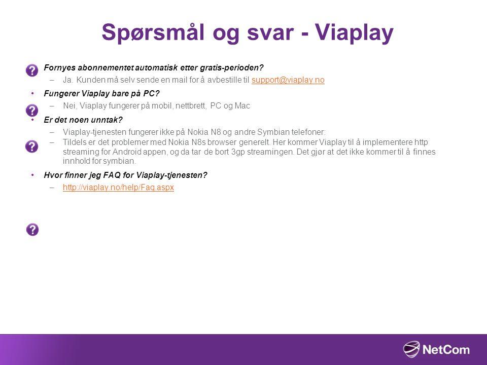 Spørsmål og svar - Viaplay