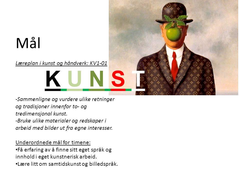 K U N S T Mål Læreplan i kunst og håndverk: KV1-01