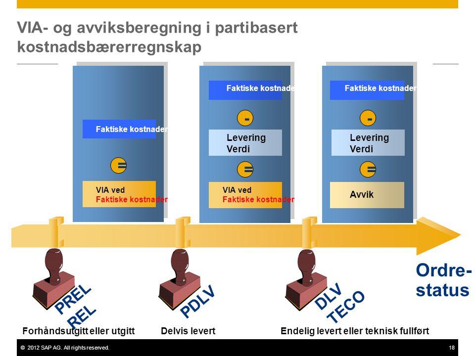 VIA- og avviksberegning i partibasert kostnadsbærerregnskap