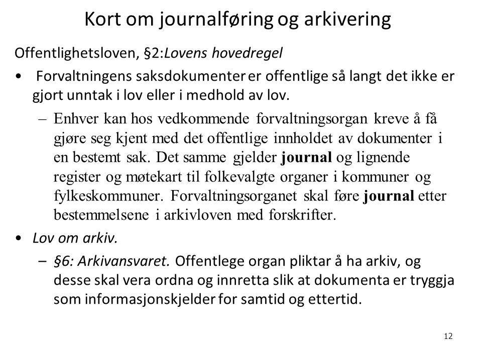 Kort om journalføring og arkivering