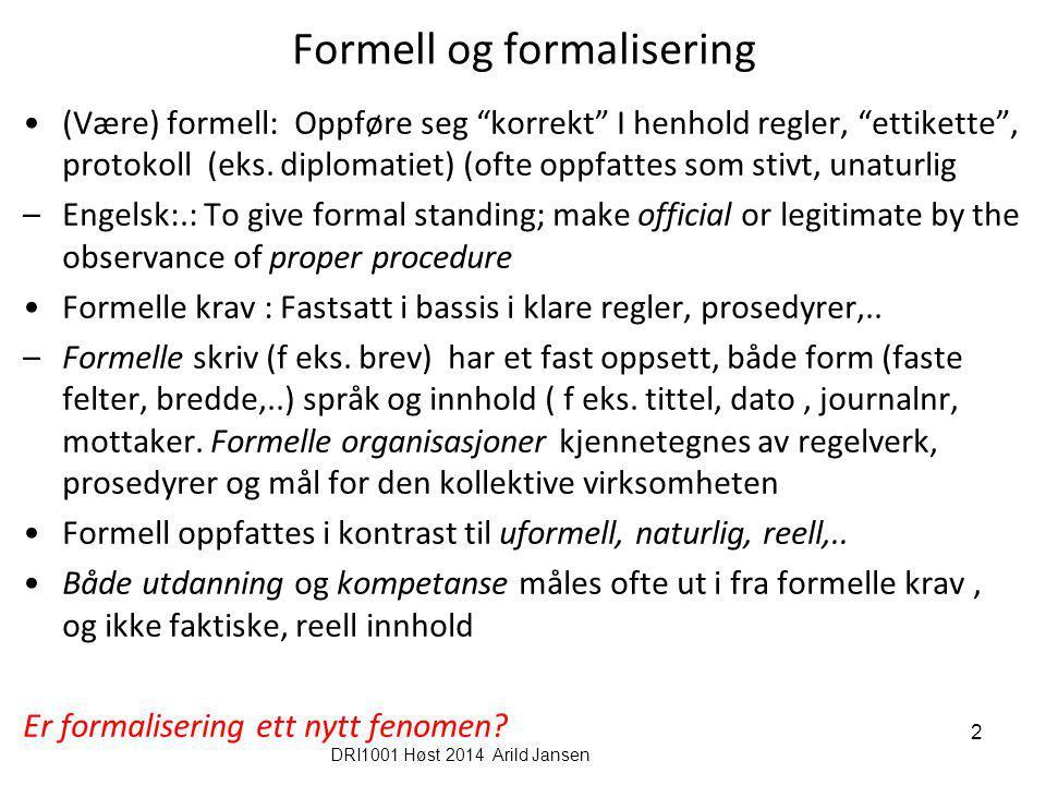 Formell og formalisering