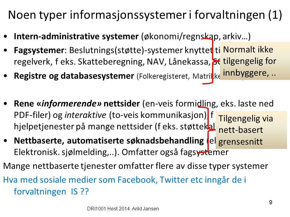 Noen typer informasjonssystemer i forvaltningen (1)
