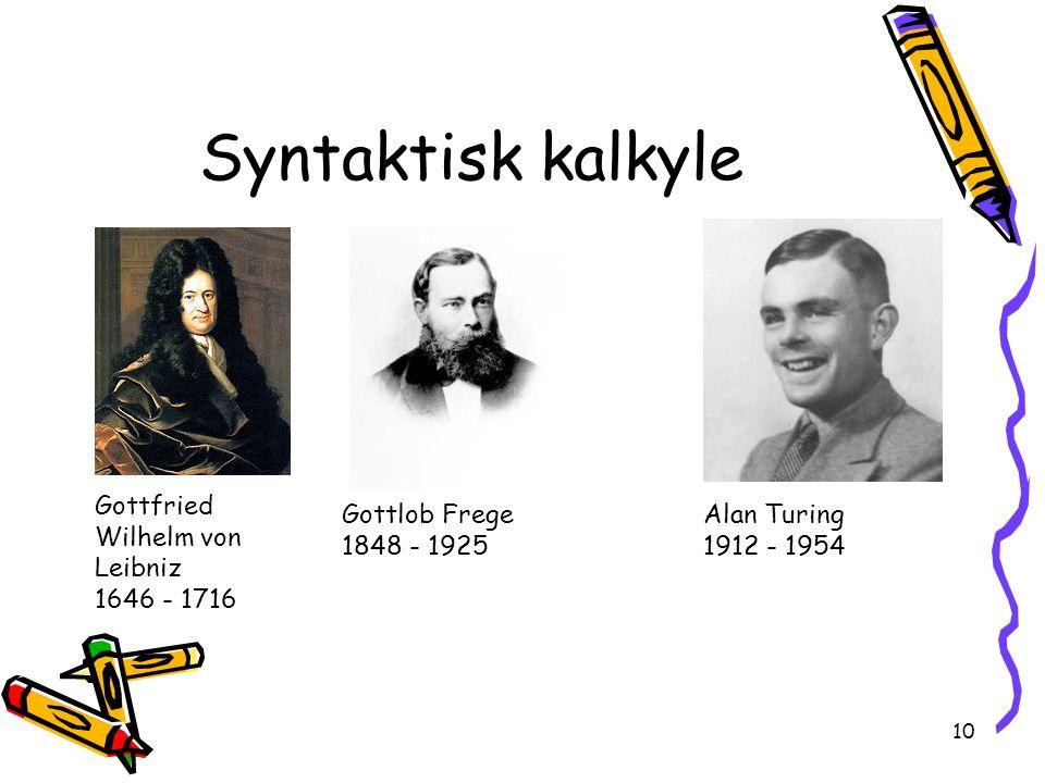 Syntaktisk kalkyle Gottfried Wilhelm von Leibniz 1646 - 1716