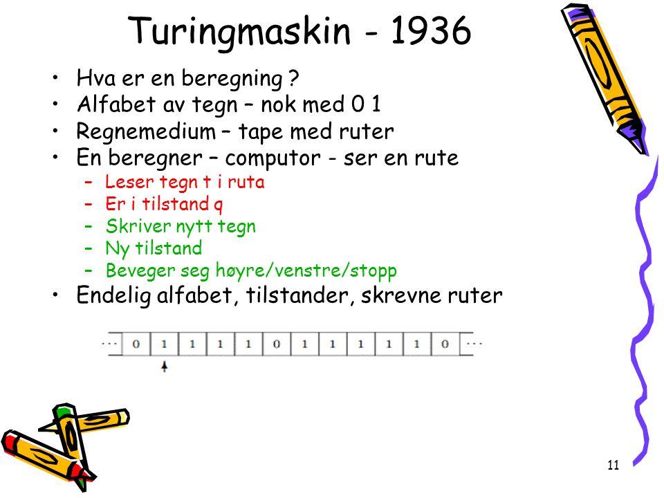 Turingmaskin - 1936 Hva er en beregning
