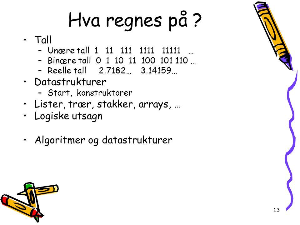 Hva regnes på Tall Datastrukturer Lister, trær, stakker, arrays, …