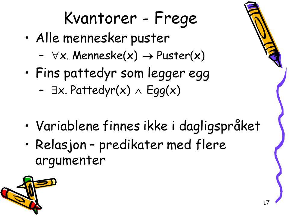 Kvantorer - Frege Alle mennesker puster Fins pattedyr som legger egg