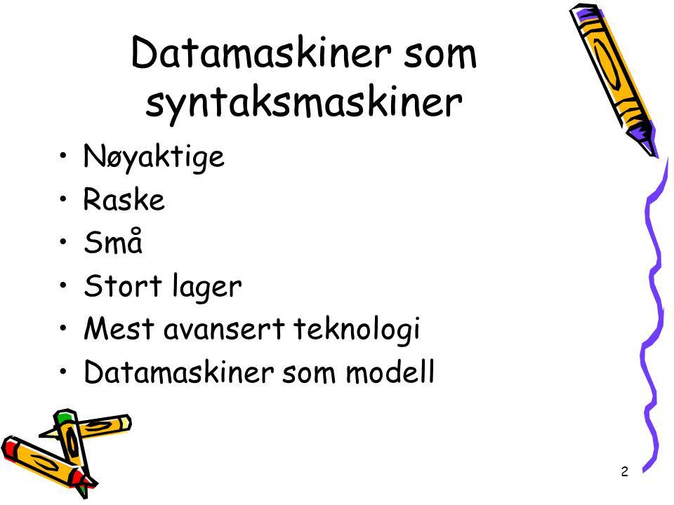 Datamaskiner som syntaksmaskiner