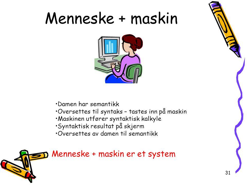 Menneske + maskin Menneske + maskin er et system Damen har semantikk
