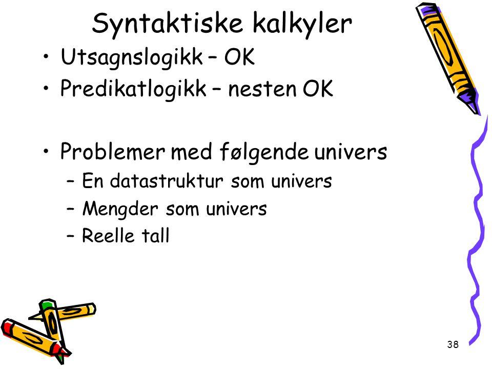 Syntaktiske kalkyler Utsagnslogikk – OK Predikatlogikk – nesten OK