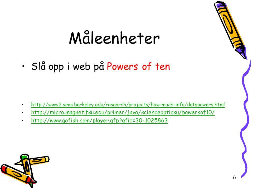 Måleenheter Slå opp i web på Powers of ten
