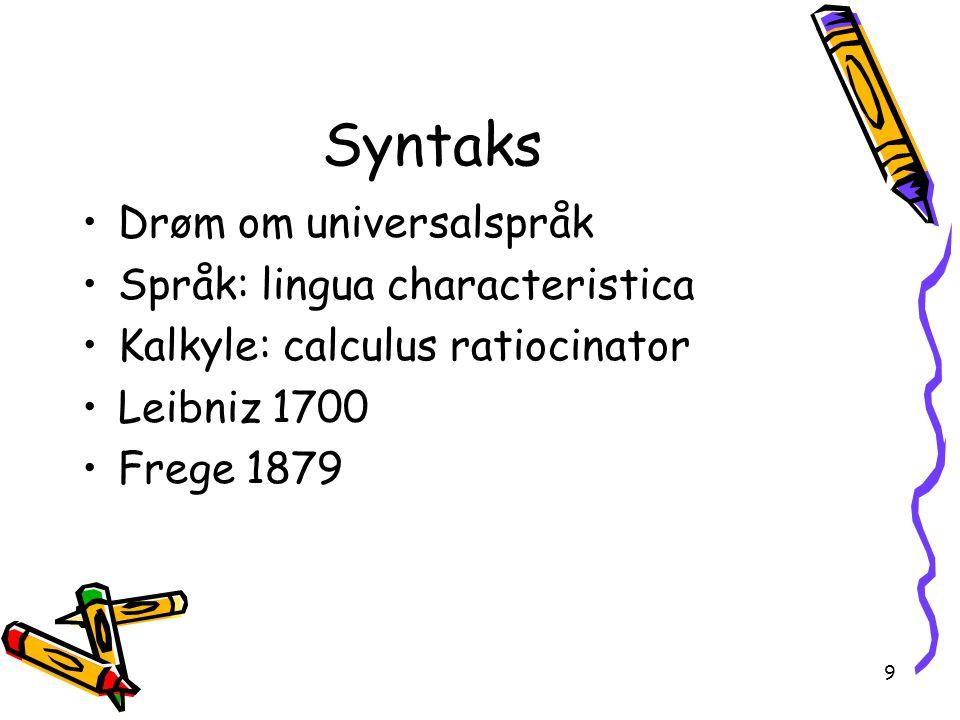 Syntaks Drøm om universalspråk Språk: lingua characteristica