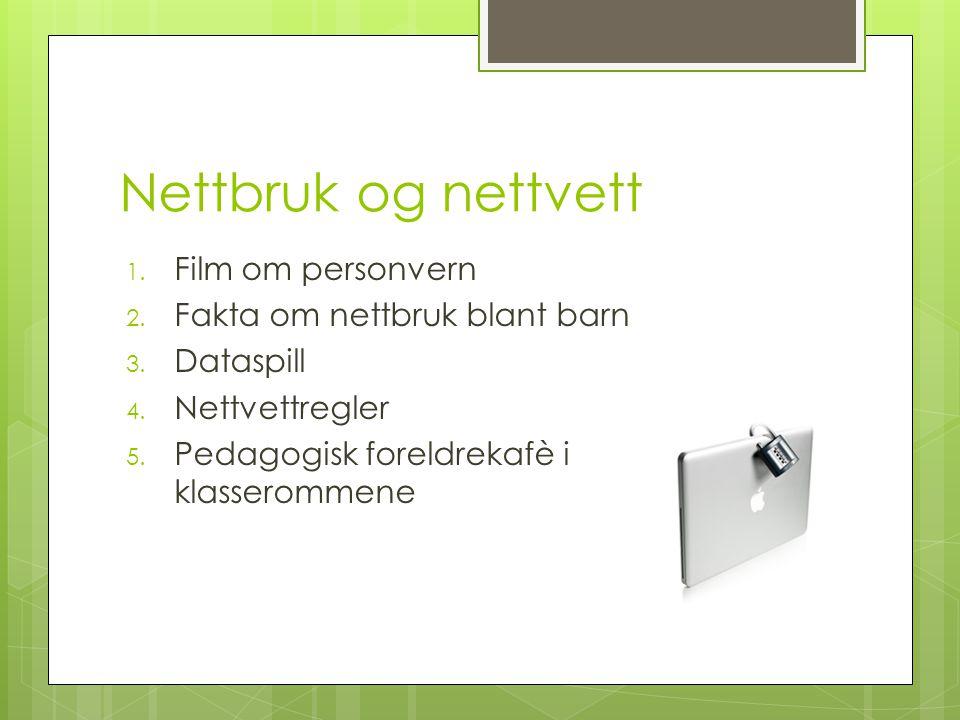 Nettbruk og nettvett Film om personvern Fakta om nettbruk blant barn