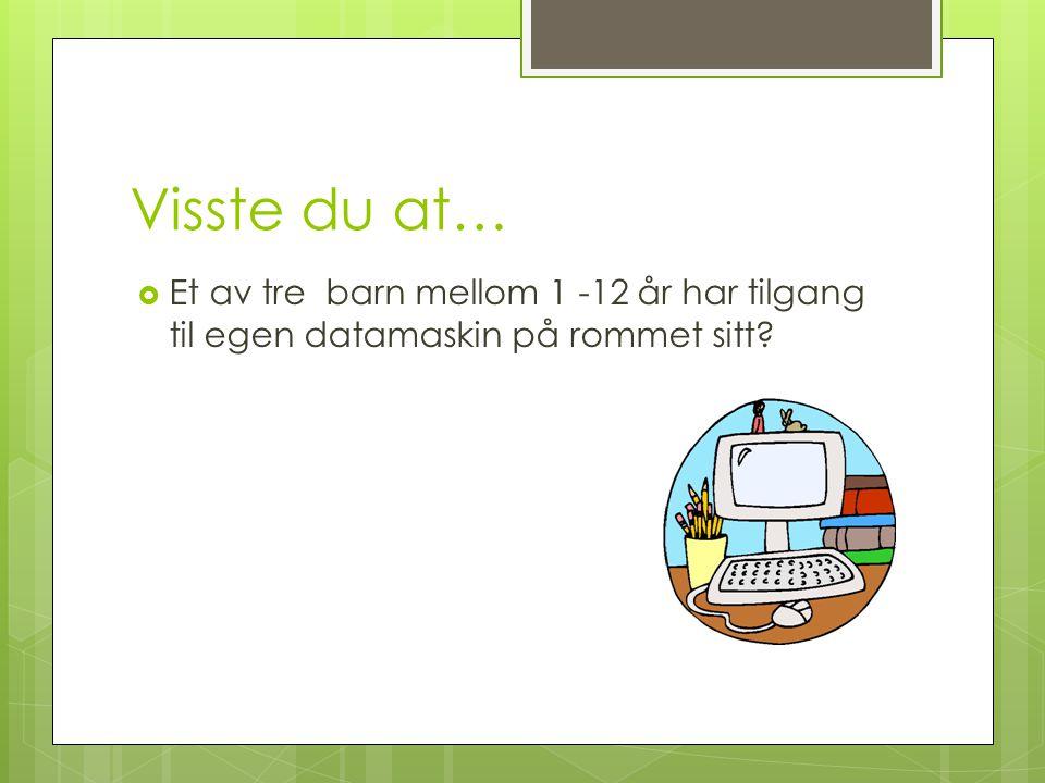 Visste du at… Et av tre barn mellom 1 -12 år har tilgang til egen datamaskin på rommet sitt
