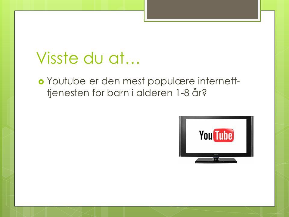 Visste du at… Youtube er den mest populære internett-tjenesten for barn i alderen 1-8 år