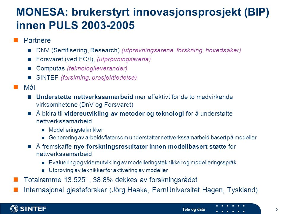 MONESA: brukerstyrt innovasjonsprosjekt (BIP) innen PULS 2003-2005
