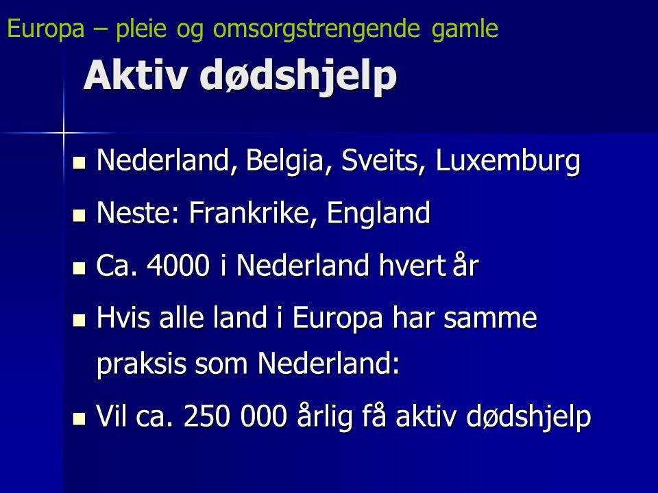 Aktiv dødshjelp Nederland, Belgia, Sveits, Luxemburg