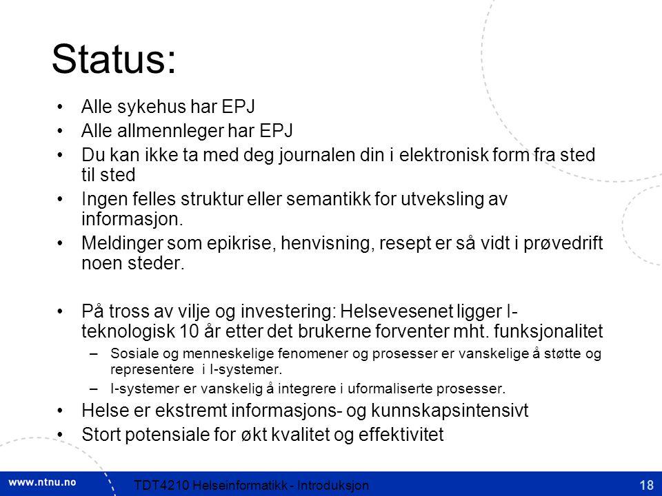 Status: Alle sykehus har EPJ Alle allmennleger har EPJ