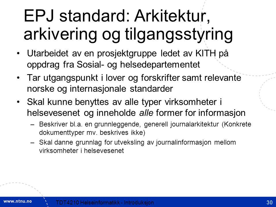 EPJ standard: Arkitektur, arkivering og tilgangsstyring