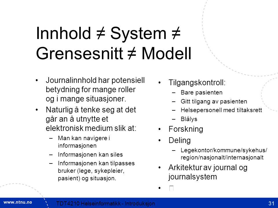 Innhold ≠ System ≠ Grensesnitt ≠ Modell