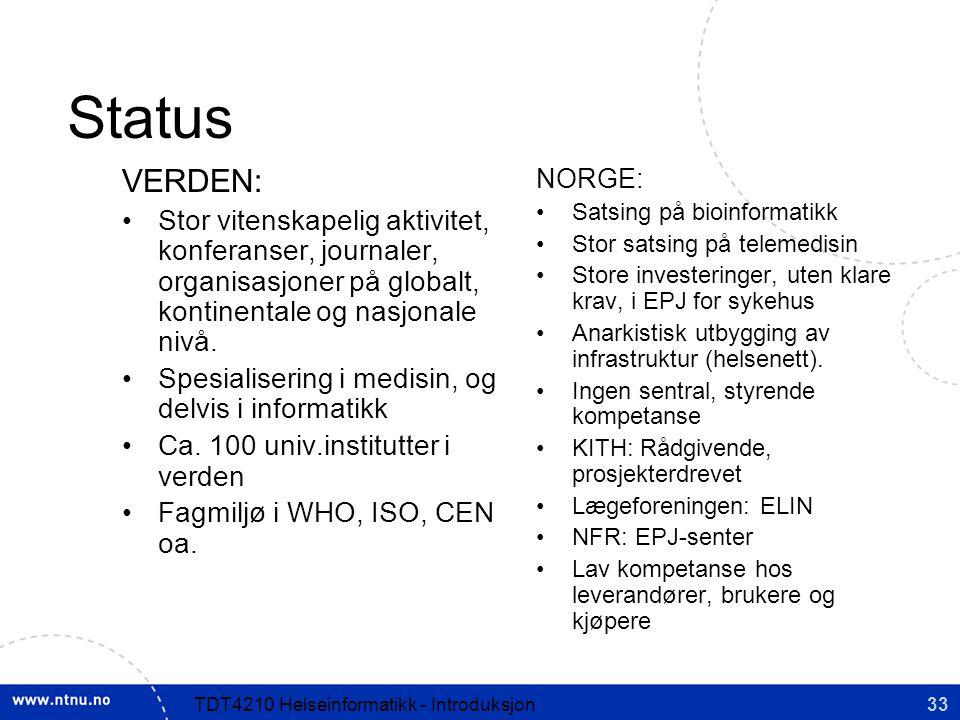 Status VERDEN: Stor vitenskapelig aktivitet, konferanser, journaler, organisasjoner på globalt, kontinentale og nasjonale nivå.