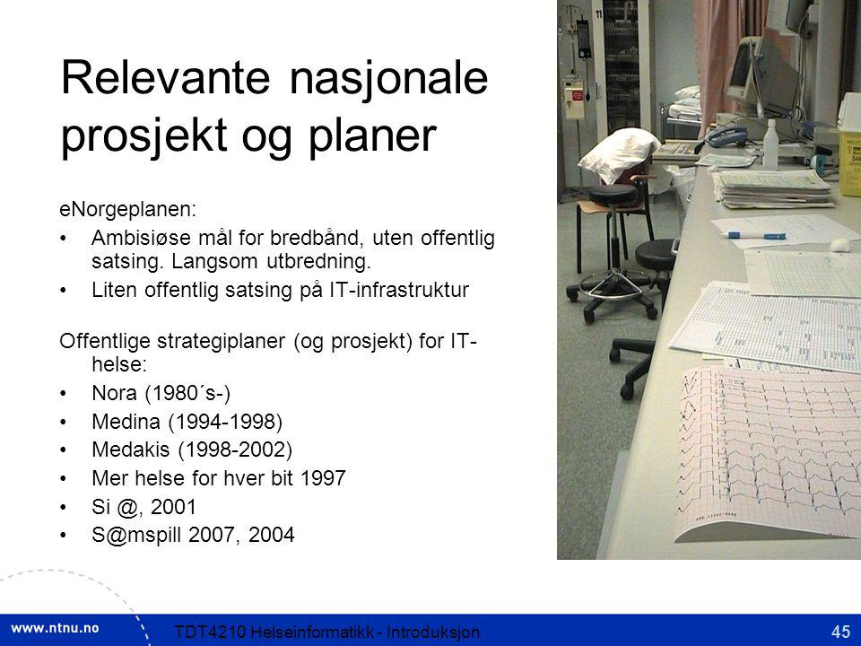 Relevante nasjonale prosjekt og planer