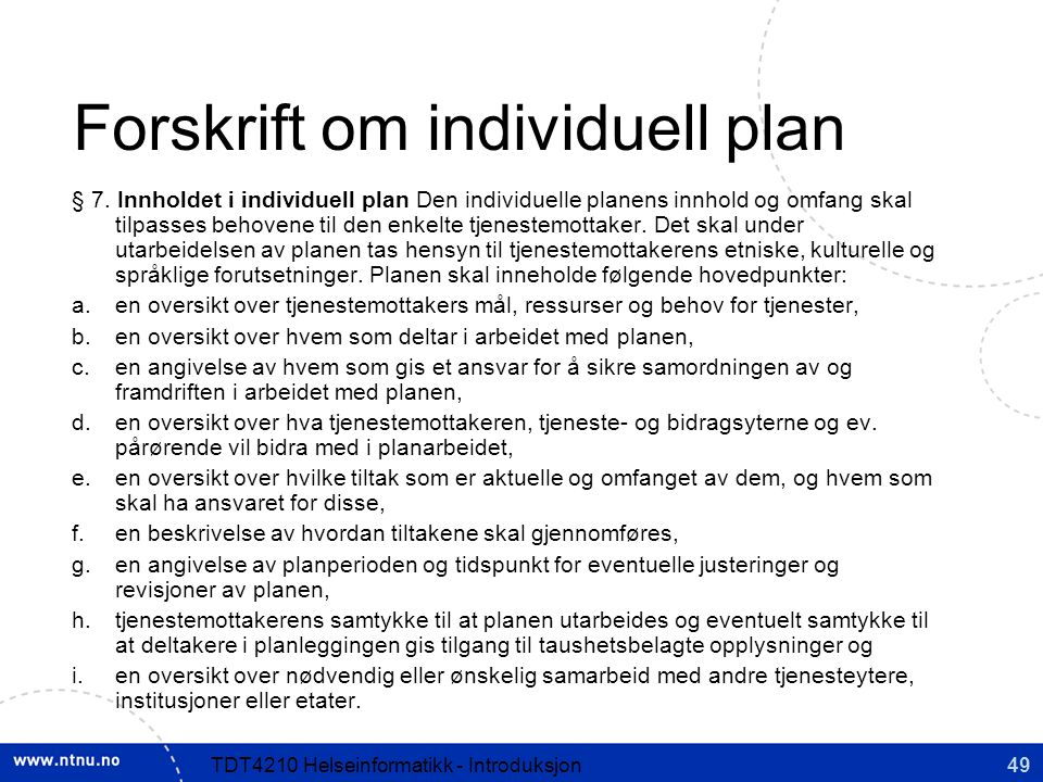 Forskrift om individuell plan