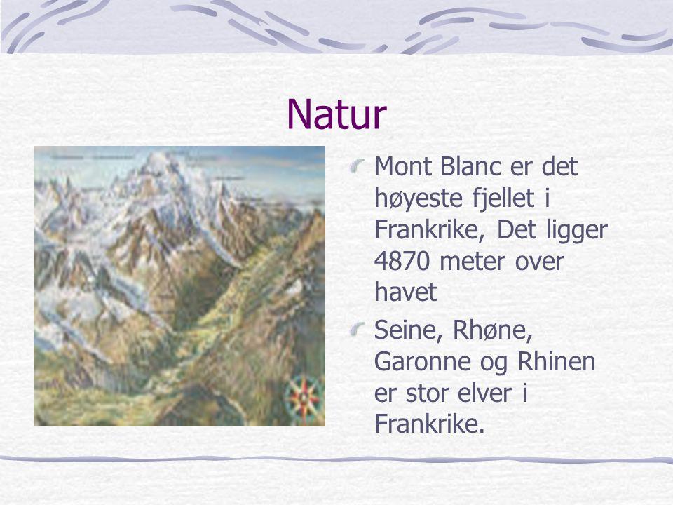 Natur Mont Blanc er det høyeste fjellet i Frankrike, Det ligger 4870 meter over havet.