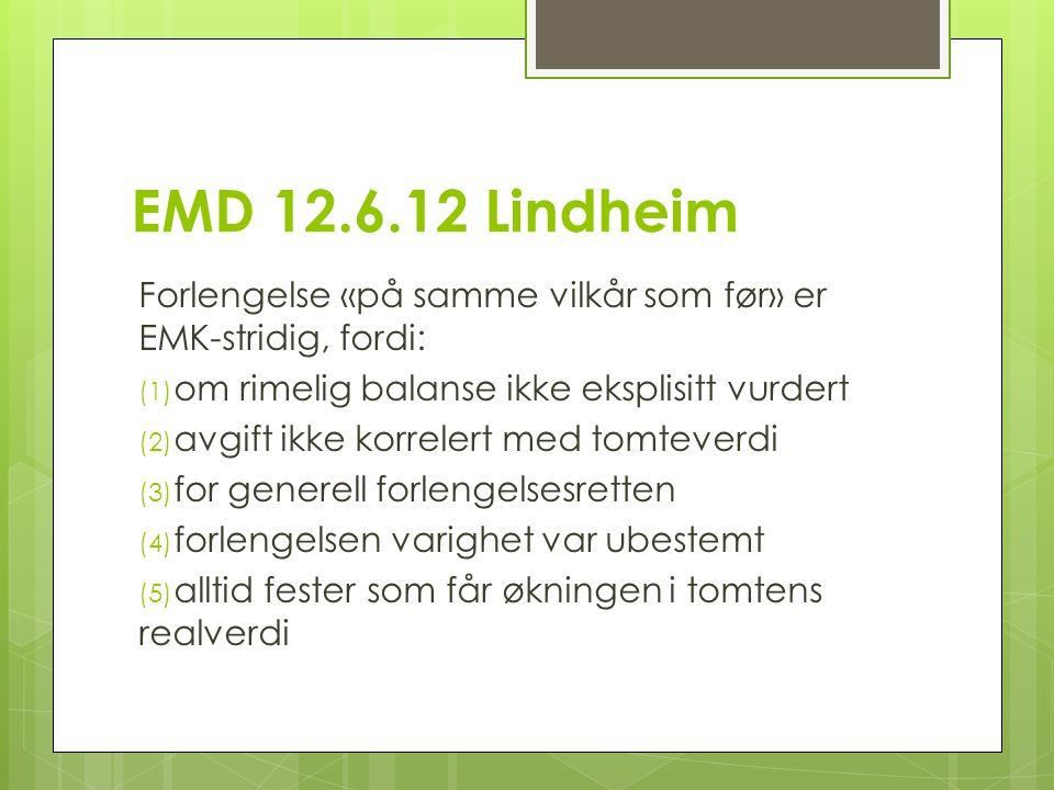 EMD 12.6.12 Lindheim Forlengelse «på samme vilkår som før» er EMK-stridig, fordi: om rimelig balanse ikke eksplisitt vurdert.