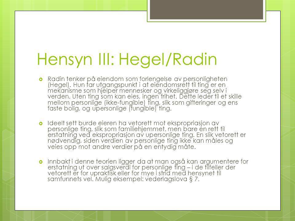 Hensyn III: Hegel/Radin