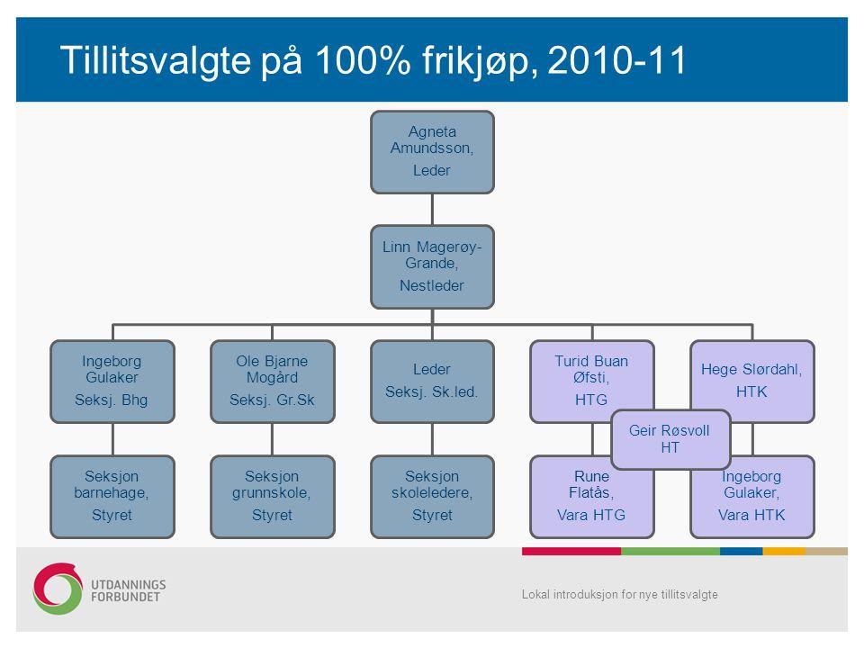 Tillitsvalgte på 100% frikjøp, 2010-11