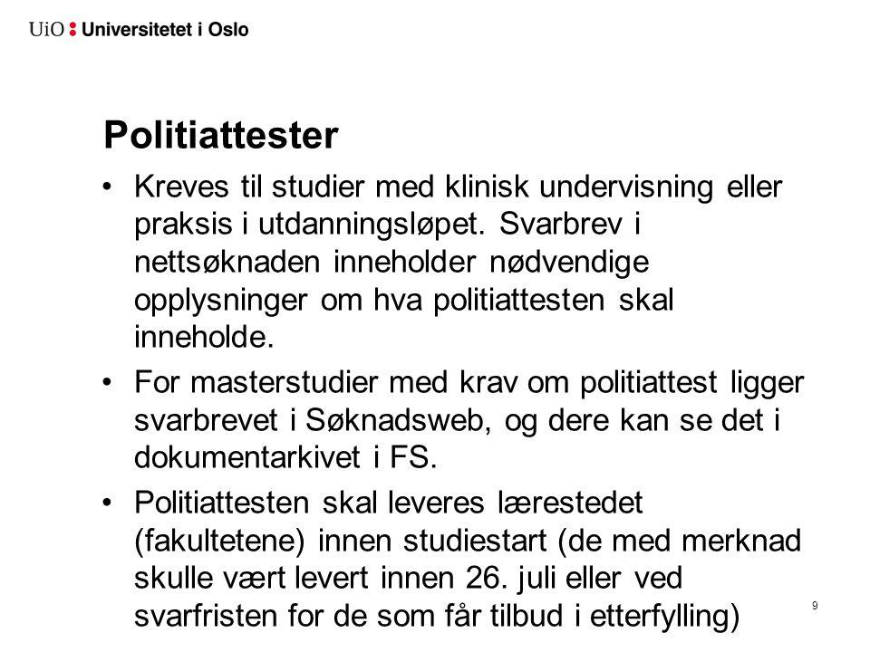 UiOMaster UiO har 156 søknadsalternativer i felles masteropptak (UIOMASTER) Inkludert EU-søkere (tidligere eget SFM-opptak)