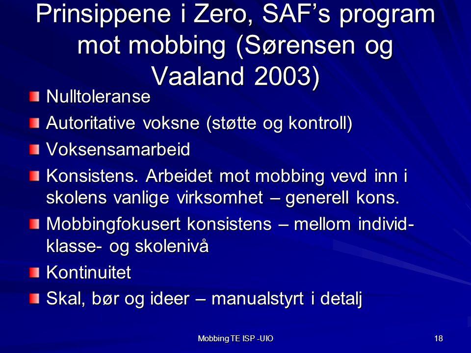 Prinsippene i Zero, SAF's program mot mobbing (Sørensen og Vaaland 2003)