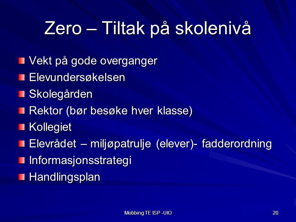 Zero – Tiltak på skolenivå