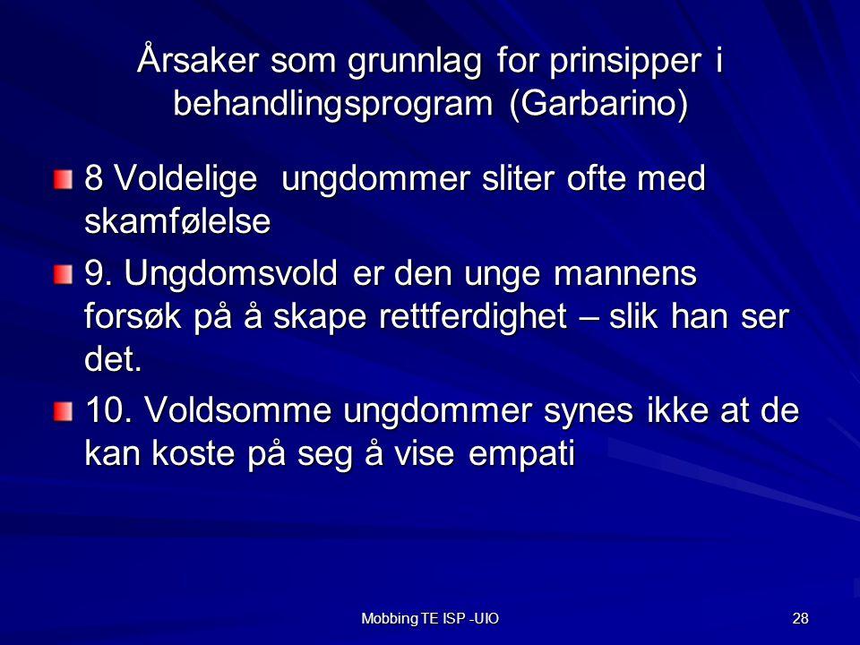 Årsaker som grunnlag for prinsipper i behandlingsprogram (Garbarino)