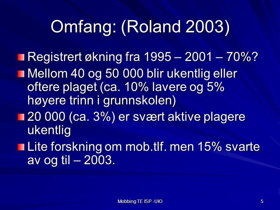 Omfang: (Roland 2003) Registrert økning fra 1995 – 2001 – 70%