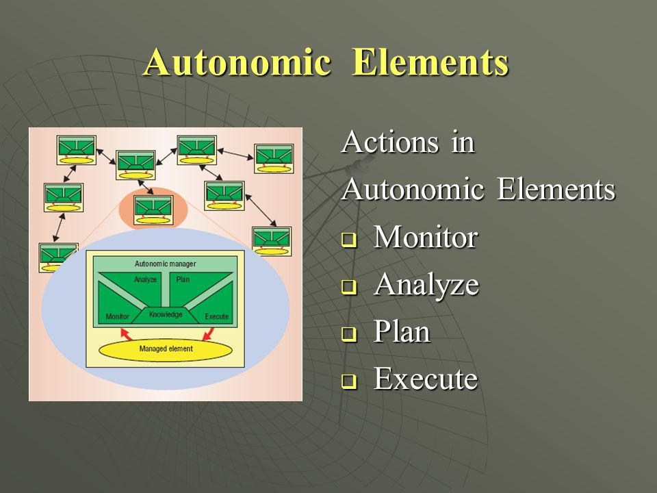 Autonomic Elements Actions in Autonomic Elements Monitor Analyze Plan
